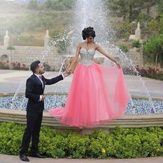 Crystal Beaded Sweetheart Long Tulle Pink Prom Dresses 2017