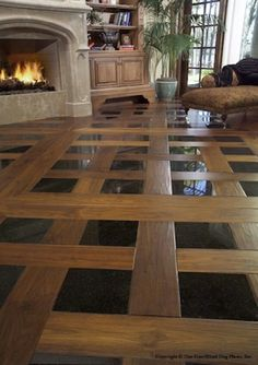 Wood planks with tile inserts. Beautiful design.