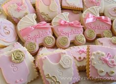 Pastel pink and ivory baby cookies. Fancy Cookies, Cut Out Cookies, Iced Cookies, Cupcake Cookies, Baby Shower Treats, Baby Shower Cupcakes, Shower Cakes, Shower Favors, Baby Showers