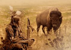 """""""Native American Sioux and Bison"""" by I.M. Spadecaller, Tampa Bay // Image is a composite of photographs and digital artwork created in Photoshop.The portrait of Sioux American Indian sitiing was originally published in 1900 by photographer, Gertrude Käsebier (1852-1934). // Imagekind.com -- Buy stunning fine art prints, framed prints and canvas prints directly from independent working artists and photographers."""