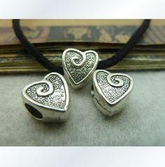 20X Atq Silver Heart beads pendant  Y665