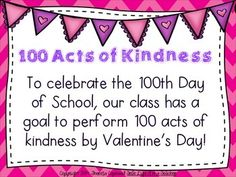 100th Day/Valentine's Acts of Kindness Display acts on hearts in the shape of hearts