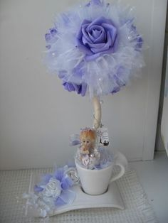 parties and other events Topiary Centerpieces, Baptism Centerpieces, Fabric Flowers, Paper Flowers, Floating Tea Cup, Teacup Crafts, Girl Birthday Decorations, Topiary Trees, Craft Sale