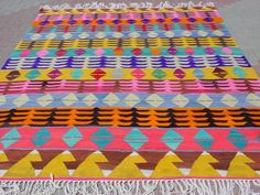 BOHEMIAN Vintage Turkish Kilim Rug Carpet Handwoven by sofART