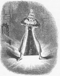 """""""Scrooge Extinguishes the First of The Three Spirits"""" by John Leech — fourth illustration for """"A Christmas Carol"""" (1843)"""