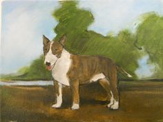 Original oil painting of a Bull Terrier with by BushmanStudio, $75.00
