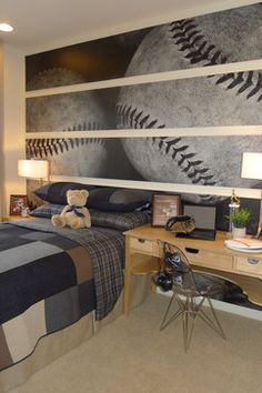 Boys Baseball Room Design Ideas, Pictures, Remodel, and Decor. Really cute room. What a cool idea!