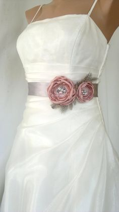 Handcrafted Pink and Grey Two Flowers With Feathers by elitewomen, $39.50