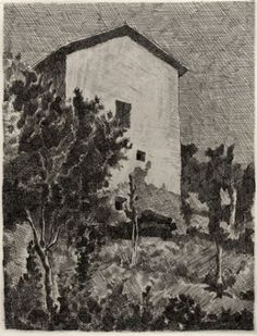 Giorgio Morandi (Italian, 1890-1964) - Landscape (House at Grizzana), 1927 - Etching
