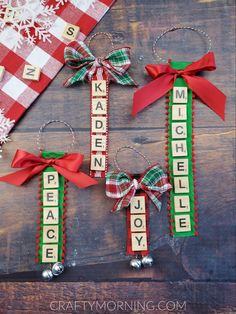 Personalized Scrabble Tile Ornaments Kids Crafts, Recipes, and DIY ProjectsPersonalized Scrabble Tile OrnamentsMake personalized ornaments using old scrabble letters from your o # Christmas Crafts For Adults, Christmas Ornaments To Make, Holiday Crafts, Christmas Diy, Homemade Christmas, Christmas Ribbon Crafts, Christmas Cards, Christmas Projects, Christmas Greetings