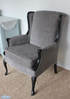 love this wingback chair re-do!!!!!!!!! Is that grey velvet?!?!?!?! :)