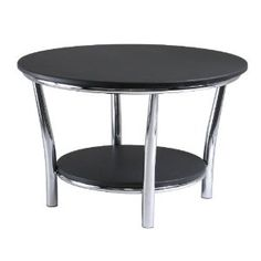 Winsome Wood Maya Round Coffee Table, Black Top, Metal Legs --- http://waif.biz/94