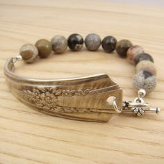 Spoon handle bracelet with silver leaf jasper beads 8 inches