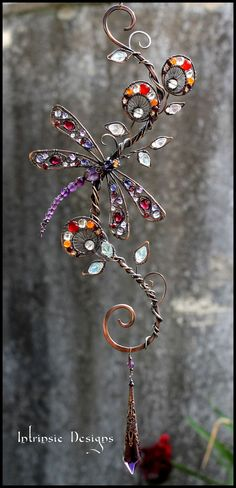 Dragonfly sun catcher with loads of gemstones by Cathy Heery from Intrinsic Designs