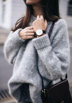 Grey Plain High Neck Long Sleeve Pullover Sweater