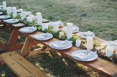 moss table runner in picnic tables with candles