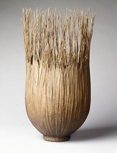 Brown Reed Basket by Mary Merkel-Hess (American, born Warterloo, Iowa, 1949) 1989 Reed and paper, Metropolitan Museum of Art
