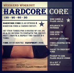 Hardcore Core - 30 Minute Core/Cardio circuit. http://fitvillains.tumblr.com/post/16340367184/weekend-workout-hardcore-core-30-minute-cardio-core