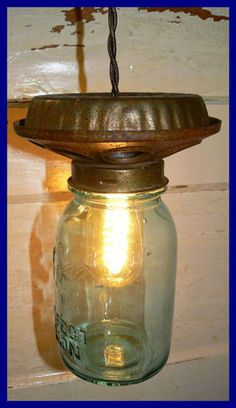 Chicken Feeder Light with Blue Ball Perfect Mason Jar | eBay