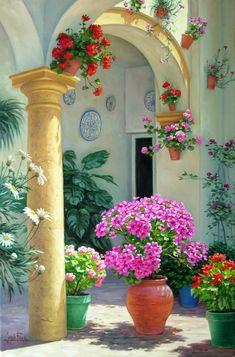 Jesús Fernández Romero Fantasy Landscape, Landscape Art, Beautiful Paintings, Beautiful Landscapes, Foto Transfer, Window Box Flowers, Garden Painting, Wildlife Art, Learn To Paint