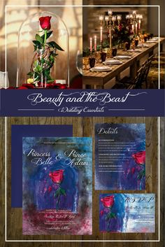 Enchanted Rose Wedding Invitations for your Beauty and the Beast Wedding. Repin it to save it later for your own whimsical wedding!
