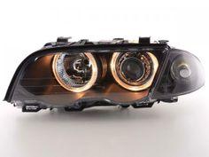 Faros delanteros Angel Eyes Set BMW serie 3 sedan modelo E46 98-01 negro