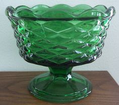 Antique Retro Vintage Green Glass Compote/Candy,Basket Weave Pattern