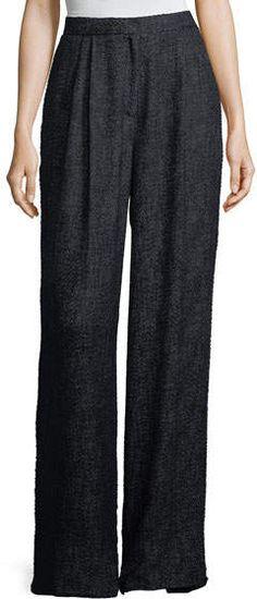 The Row Hester High-Waist Wide-Leg Tweed Pants