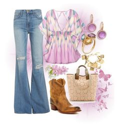 """""""Fashion Gypsy"""" by ellary-branden on Polyvore featuring Roberto Coin, Current/Elliott, Victoria's Secret, Frye, Valentino, Moschino and country"""