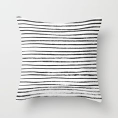 Black Brush Lines on White Throw Pillow by LacyDermy - $20.00