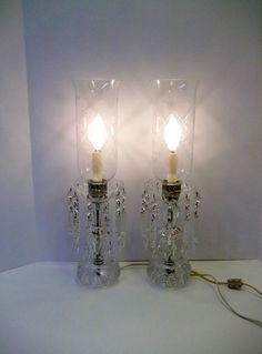 Crystal Mantle Lamp Pair Large Heavy Crystal Buffet Lamps Hand Cut Crystal  Spears Crystal Boudoir Lamp