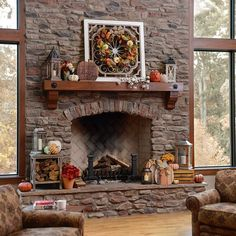 We can't wait to cozy up next to the fire this fall, especially if our #mantel is decorated like this! Make sure your home is cozy and festive for the season by shopping our #FallDecor at the link in our bio! Don't be afraid to add a mixture of different fall items to create a well-rounded display. #myKirklands #falldecorations #fallmantel #interiordesign #familylife