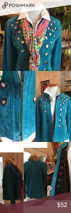 "Turquoise suede jacket zippered size large Victor Costa. Fun gunmetal tone on the hardware grommet like accents. Lots of possibilities with lots of different looks. Biker, Santa Fe, Rodeo, classy, fiesta...so fun! 👏👏 has zippers on the sleeve hem. Black satin lining. Worn maybe once. Excellent used condition. No flaws. Fits size 14-16. Length 25"" Victor Costa Jackets & Coats"