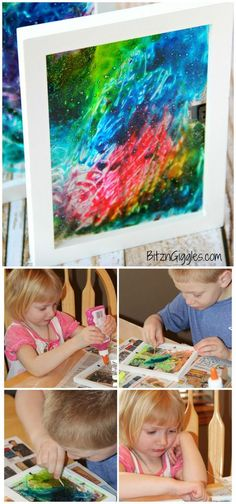 Use Elmer's glue, food colors and toothpick to create abstract stained glass art with kids. Watercolor Fabric, Abstract Watercolor Art, Watercolor Projects, Abstract Canvas Art, Canvas Paintings, Diy Coloring Books, Project Abstract, Diy Art Projects, Spring Projects