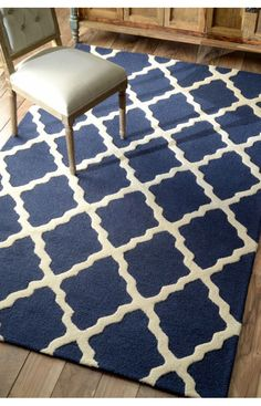 Rugs USA Homespun Moroccan Trellis Navy Blue Rug. Rugs USA Summer Sale up to 80% Off! Area rug, carpet, design,   style, home decor, interior design, pattern, trend, statement,   summer, cozy, sale, discount, free shipping, blue.