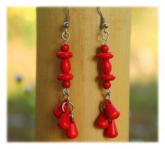 Coral Red Chandelier Dangles / Earrings