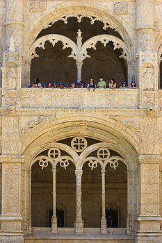 Tourists Visiting the Jeronimos Monastery Cloister
