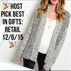 "Host PickGray Warm Cozy Open Knit Cardigan Fall in love with this warm open knit cardigan. Has tones of Ivory, gray and light black. Have sizes S/M which fits a size 2-6 and size M/L which fits a size 8-12. Made of 100% acrylic for a super warm cozy feel. Approximately 35"" Length. Price is firm unless bundled with another listing. Sweaters Cardigans"