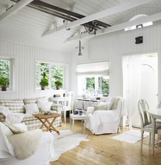 A Swedish Cottage... I love the high open ceilings, white plank walls and wood floors