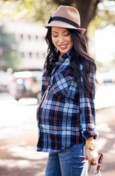 cute & little blog | petite fashion | maternity baby bump pregnant | brown felt fedora hat, blue plaid shirt, cuffed boyfriend jeans, ankle boots, lululemon happy hatha hour bag | third trimester 27 weeks | fall outfit style