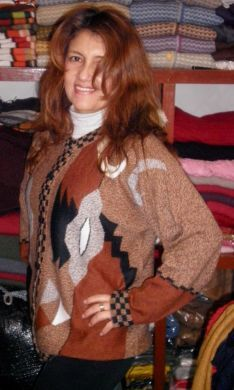 Brown patterned cardigan made of alpaca wool