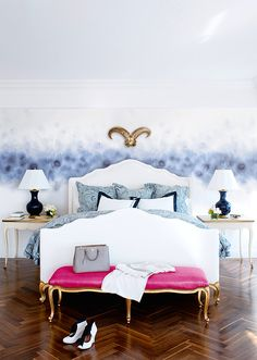 Modern Bedroom | Eclectic Interior | Girl Room Ideas | Watercolor Trend | Colorful Wallpaper | Abstract Pattern | Home Design