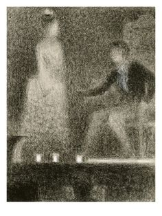 """urgetocreate: Georges Seurat, """"Scene from a Play"""" Circa Conte Crayon and white chalk on laid paper W. Georges Seurat, Renoir, Claude Monet, Repetition Art, Pablo Picasso, Impressionist Artists, Art Graphique, Drawing Poses, French Art"""
