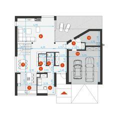 DOM.PL™ - Projekt domu DZW NOWOCZESNY 2 CE - DOM DW1-60 - gotowy koszt budowy Bungalow House Design, Facade House, Deco, Home Projects, House Plans, New Homes, Floor Plans, Minimalist, Layout