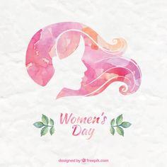 Розовый Акварель женский день Фон Premium векторы