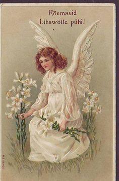 1918 EMBOSSED POSTCARD w BEAUTIFUL ANGEL w FLOWERS IMPERIAL RUSSIA  ESTONIA