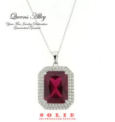 20.46ct Ruby 3.03ctw CZ .925 Solid Sterling Silver Pendant Necklcae. Starting at $1