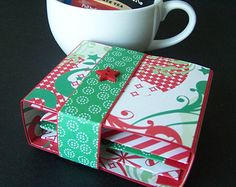 Christmas Holiday Tea Gift Box Holder for 4 Tea Bags Festive Gift Presentation or Party Favor