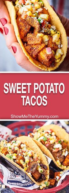These Sweet Potato Tacos are gluten free, vegan, healthy, and oh yeah, absolutely DE-LICIOUS! Loaded with sweet potatoes, mushrooms, black beans, and spices – these hearty tacos will surely satisfy! showmetheyummy.com #vegan #tacos