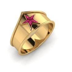 Wonder Woman Plus Band Custom Cut Ruby Ring by PaulMichaelDesign